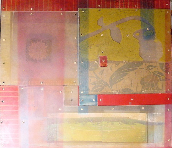 """transforms and tales"" media: shrubbi (found table top, mixed media) $1200"